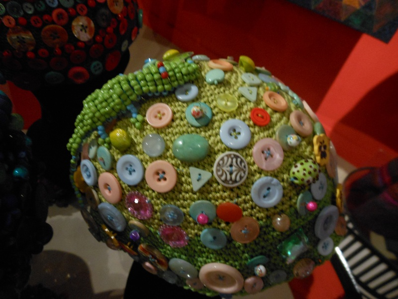 beaded and buttons on a Beanie Hat